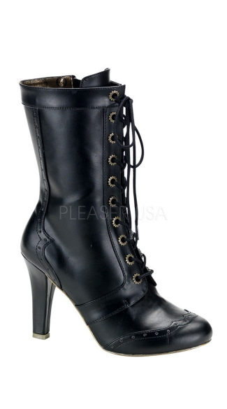 4 Inch Hidden P/f Heel Steampunk 10 Gear Eyelet Calf Bt