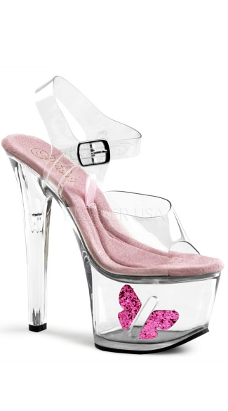 7 Inch Clear Platform with Butterfly Sandal