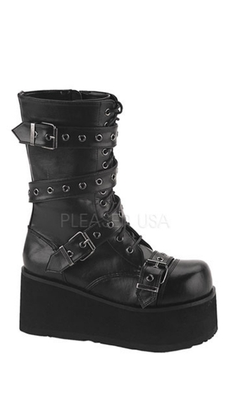 "3 1/4"" P/f Goth Punk Blk Pu Calf Bt W/ Wrap Around Strap"