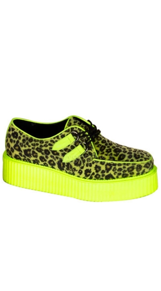 Mens 2 Inch Platform Punk Goth Vegan UV Cheetah Veggie Creeper Shoes