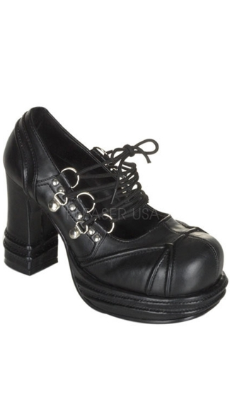 4 Inch Platform Heel Goth Punk Lolita With D-Ring Lace-up