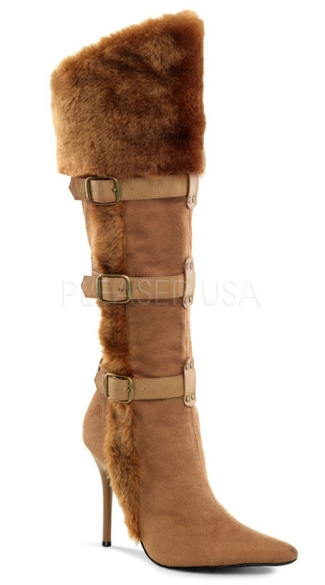 4 1/4 Inch Heel, Viking Buckle Strap Embellished Knee High Boot