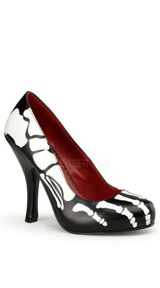 4 1/2 Inch Heel, 3/4 Inch Hidden P/f Pump W/ X-ray Skeleton Print