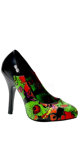 4 1/2 Inch Hidden P/f Punk Goth Pump W/ Demonia Full Moon Print