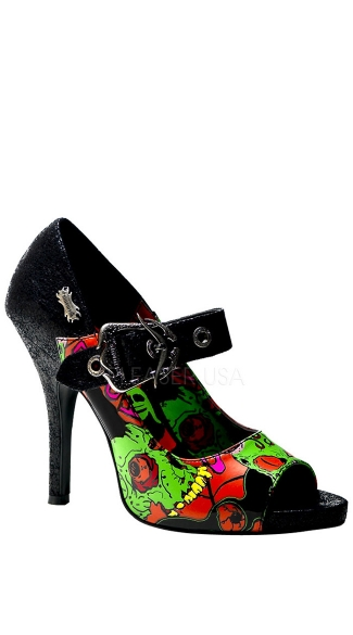 4 1/2 Inch Heel P/f Punk Peep Toe Mj W/ Zombie Horror Collage