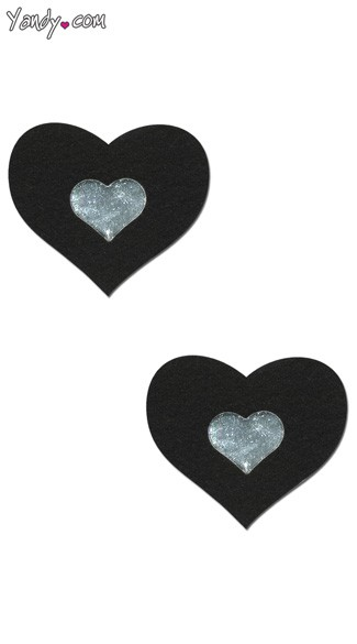 Black and Silver Heart Pasties