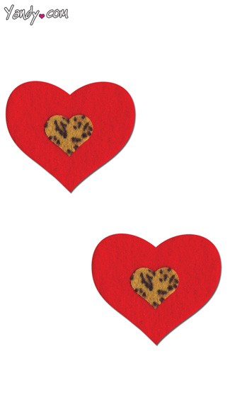 Red and Leopard Heart Pasties