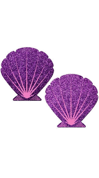 Glitter Purple and Pink Seashell Pasties, Seashell Pasties, Mermaid Pasties