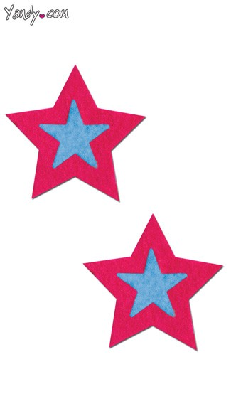 Hot Pink and Turquoise Star Pasties, Hot Pink and Turquoise Pasties, Turquoise and Hot Pink Star Pasties