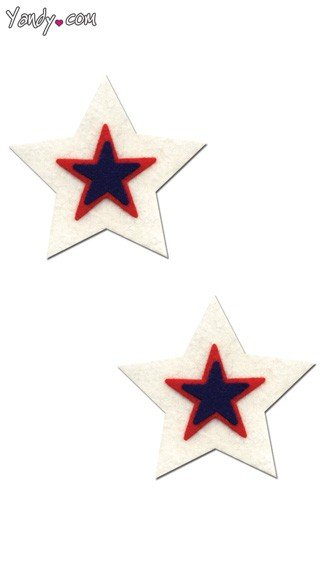 White Black and Red Star Pasties, White Black and Red Star Shaped Pasties, Multicolor Star Shaped Pasties