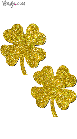 Glittering Gold Shamrock Pasties, Sexy Gold Nipple Pasties, Clover Shape Breast Petals