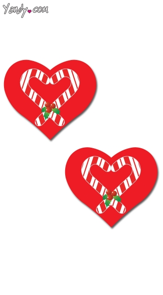 Heart Candy Cane Pasties, Heart Pasties, Christmas Pasties
