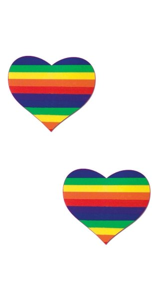 Rainbow Heart Pasties, Striped Heart Pasties, Colorful Rainbow Pasties