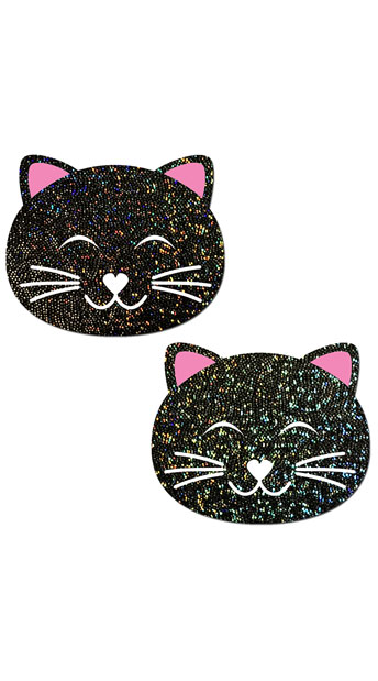Black Glitter Kitty Pasties, Cute Kitty Pasties, Sparkly Kitty Pasties
