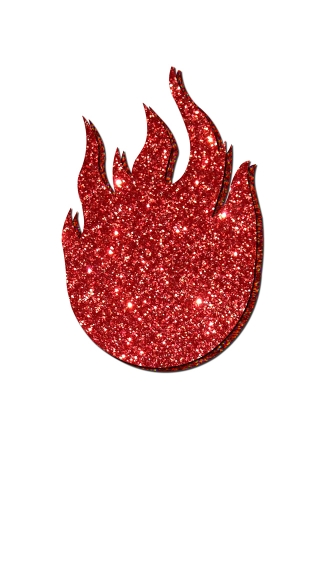 On Fire Glitter Flame Pasties, Breast Pasties, Lingerie Pasties