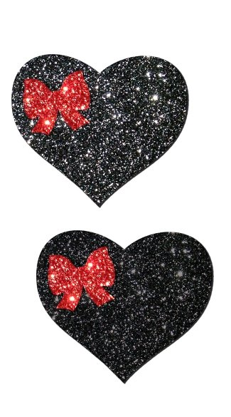 Black Glitter Heart and Red Bow Pastease, Glitter Heart Pasties, Heart Nipple Pasties