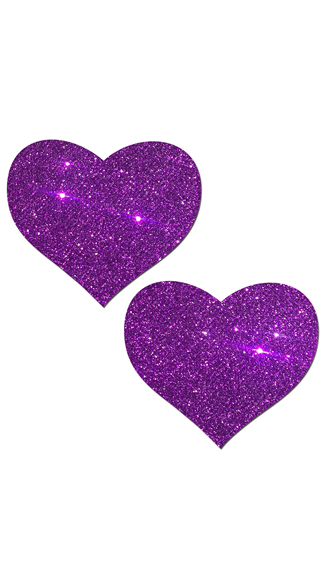Purple Glittering Heart Pasties, Purple Heart Pasties, Glitter Pasties