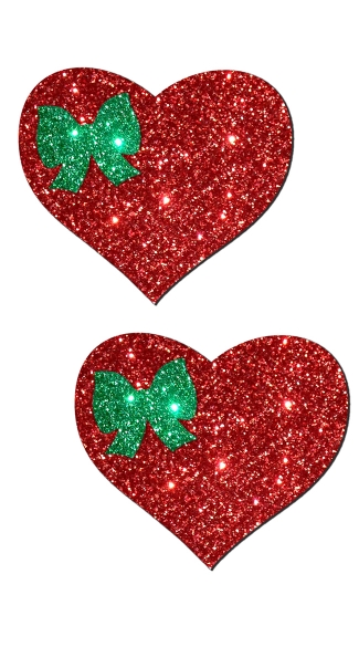 Red Glitter Heart with Green Bow Pastease, Glitter Heart Nipple Pasties, Red Glitter Heart Pasties
