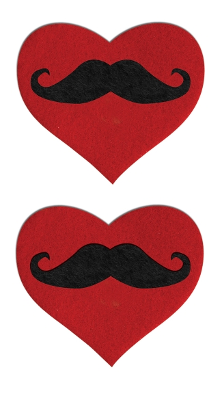Red Heart Mustache Pasties, Heart Shaped Pasties with Mustaches