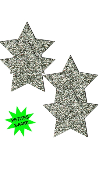 Small Silver Glitter Star Pasties