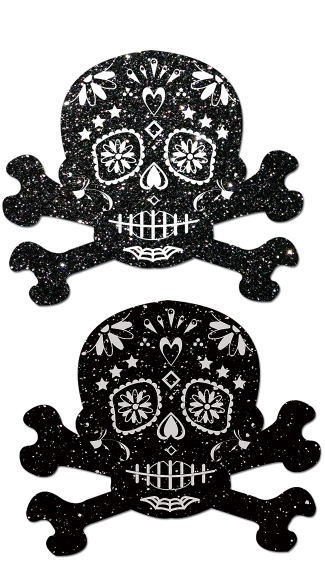 Glitter Skull Candy Pastease, Candy Skull Nipple Pasties, Glitter Sugar Skull Nipple Pasties