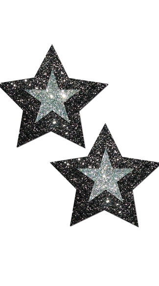 Midnight Star Pasties, Glittery Star Pasties, Silver And Black Pasties