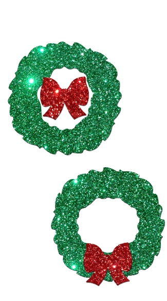 Glitter Wreath with Red Bow Pastease, Glitter Christmas Nipple Pasties, Wreath Holiday Pasties