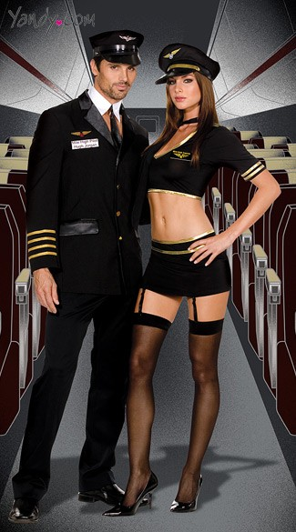 Mile High Captains Couples Costume, Sexy Pilots His and Her Couples Costume, Pilot and Flight Attendant Couples Costume