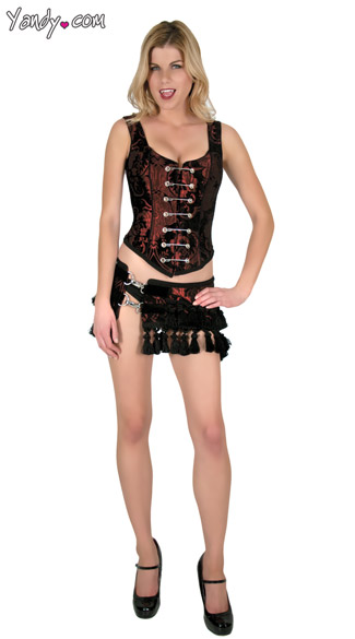 Deluxe Tapestry Vampire Costume, Vampire Corset and Skirt, Vampire Top and Skirt Costume
