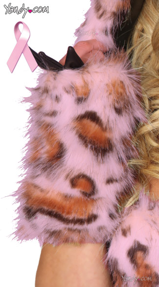 Pink Frisky Gloves, Pink Leopard Gloves, Furry Gloves