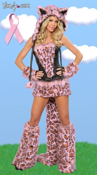 Pink Frisky Leopard Corset, Skirt and Tail