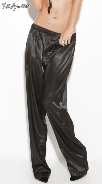 Plus Size Black Satin Sleepwear Pants, Plus Size Lounge Pants