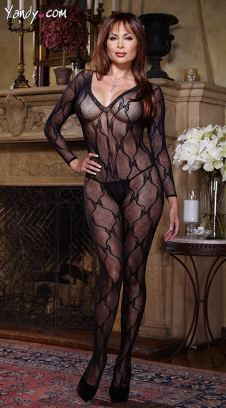 Plus Size Body Stocking, Plus Size Bodystocking, Plus Size Long Sleeved Body Stocking, Plus Size Long Sleeved Patterned Body Stocking, Plus Size Open Crotch Bodystocking