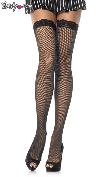 Plus Size Fishnet Lace Top Stockings