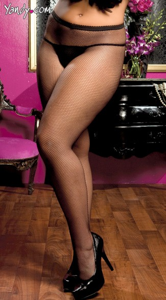 Plus Size Fishnet Pantyhose with Backseam