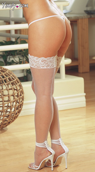 Plus Size Fishnet Thigh High with Lace Silicone Top