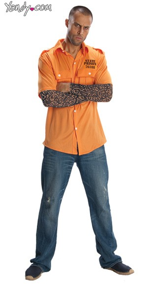 Mens Prisoner Costume, Male Prisoner Costume, Mens Prisoner Halloween Costume