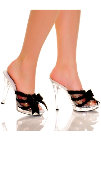 Satin Trimmed Clear Stiletto Slide, 5 Inch Clear Satin Trimmed Slide, Stiletto High Heel Slide with Satin Bow