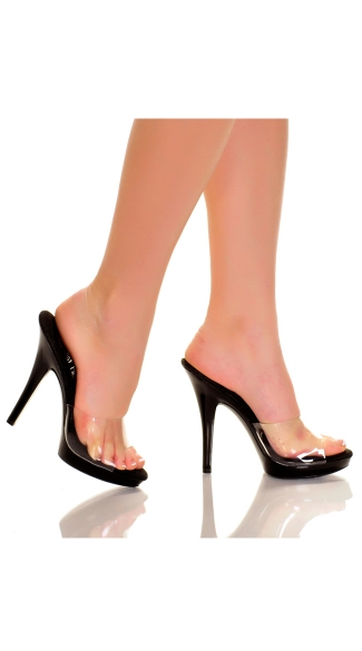 5 Inch Clear Mule Slide with Black Base, Color Contrasting Slide High Heel, Clear Mule with Black Heel