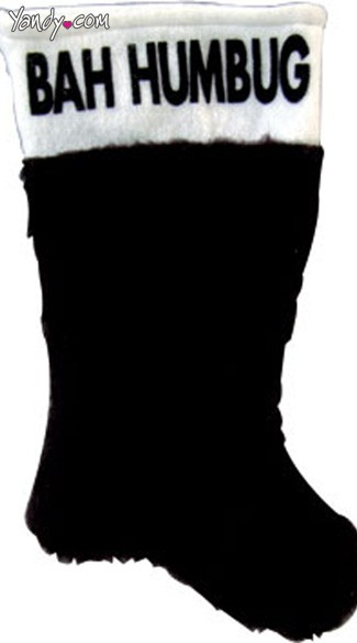 "19"" Plush Bah Humbug Stocking, Bah Humbug Stocking, Black Chirstmas Stocking"