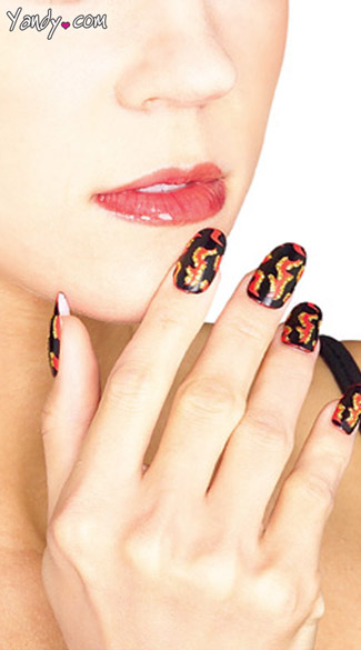 Devil Press On Nails, Fake Devil Costume Nails, Devil Nails