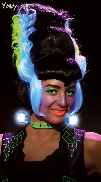 Black Light Bride of Frankenstein Wig, Bride of Frank Wig, Light Up Frankenstein Wig