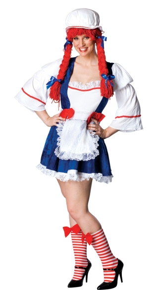 Sweet Rag Doll Costume, Raggedy Ann Costume for Women, Rag Doll Dress Socks and Yarn Wig