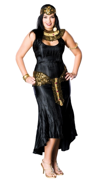 Sexy Plus Size Sparkle Cleopatra Costume, Black Cleopatra Dress with Gold Trim, Black and Gold Cleopatra Dress