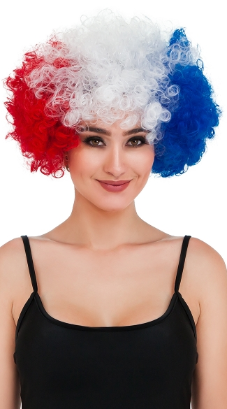 America The Beautiful Wig, Fourth of July Wig, Fourth of July Afro