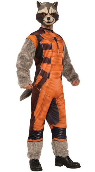 Deluxe Men\'s Rocket Raccoon Costume, Rocket Raccoon Costume, Guardians Of The Galaxy Costume