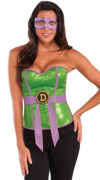 Sexy TMNT Donatello Corset Costume, TMNT Costume, Teenage Mutant Ninja Turtle Costume