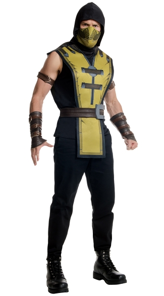 Scorpion Mortal Kombat Costume, Adult Kombat Scorpion Costume, Adult Kombat Halloween Costume