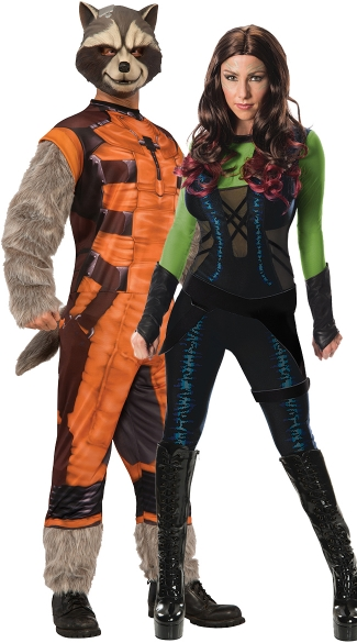 Gamora and Rocket Couples Costume, Gamora Costume, Gamora Halloween Costumes, Womens Guardian of the Galaxy Costume, Deluxe Men\'s Rocket Raccoon Costume, Rocket Raccoon Costume, Guardians Of The Galaxy Costume