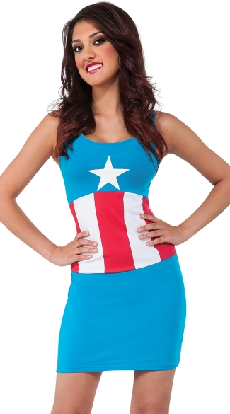 Miss Captain America Tank Dress, Easy Captain America Costume Dress, Sexy Captain American Halloween Costume